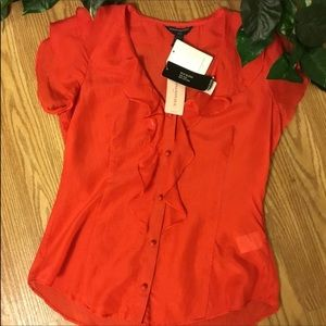 NWT Banana Republic Red Silk Blend Blouse PXS